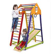 Детский спортивный уголок для дома «BambinoWood Color» ТМ SportBaby, размеры 1.7х0.85х1.32м