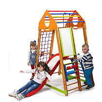 Детский спортивный уголок для дома «BambinoWood Plus 3» ТМ SportBaby, размеры 1.7х0.85х1.32м
