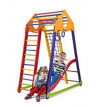 Детский спортивный уголок для дома «BambinoWoodColor Plus 1» ТМ SportBaby, размеры 1.7х0.85х1.32м