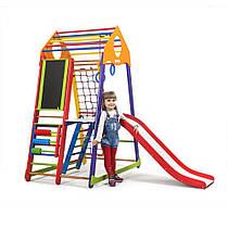 Детский спортивный уголок для дома «BambinoWoodColor Plus 3» ТМ SportBaby, размеры 1.7х0.85х1.32м