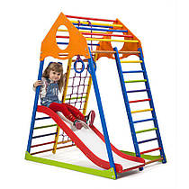 Детский спортивный уголок для дома «KindWood Color Plus 1» ТМ SportBaby, размеры 1.5х0.85х1.32м