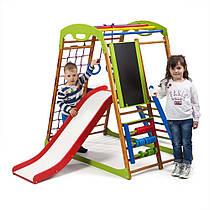 Детский спортивный уголок для дома «BabyWood Plus 3» ТМ SportBaby, размеры 1.3х0.85х1.32м