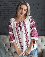 Блуза з вишивкою натуральний білий льон розміри в наявності
