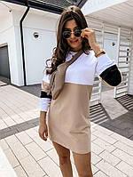 Яскраве модне літнє жіноче плаття, бежево-білий