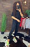 """Жіночий стильний чорний костюм: """"Змійки"""": футболка з блискавками збоку і штани, фото 3"""