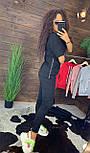 """Жіночий стильний чорний костюм: """"Змійки"""": футболка з блискавками збоку і штани, фото 4"""
