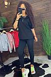 """Жіночий стильний чорний костюм: """"Змійки"""": футболка з блискавками збоку і штани, фото 2"""