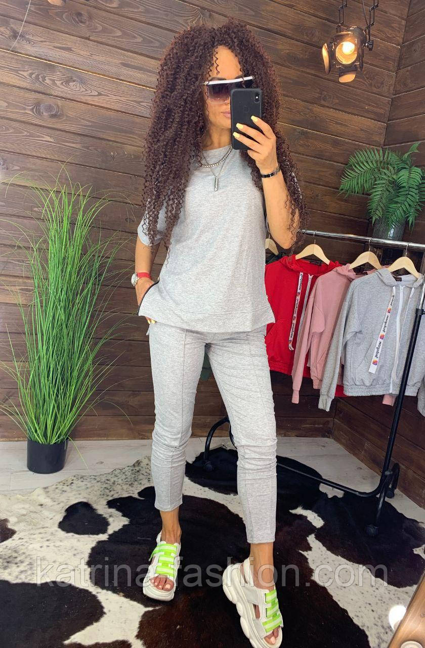 """Жіночий стильний сірий костюм: """"Змійки"""": футболка з блискавками збоку і штани"""