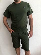 Мужской стильный легкий удобный летний спортивный костюм шорты и футболка чёрный, серый или хаки
