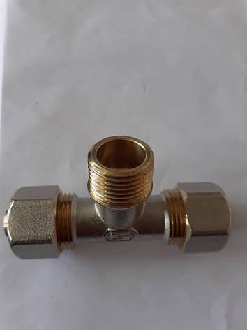Фитинг тройник разборной GROSS 16*1\2н*16 металопластиковой трубы, фото 2