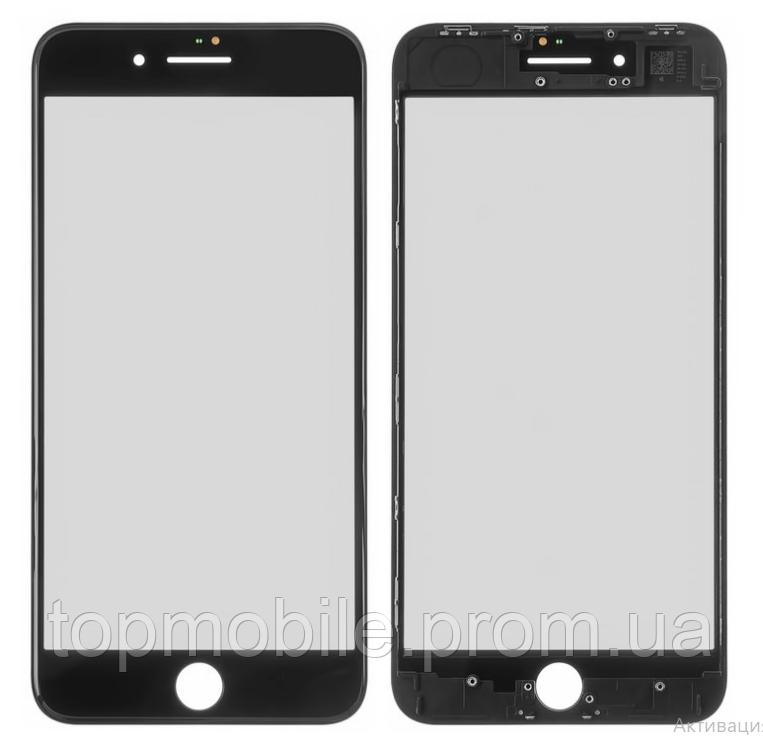 Стекло для iPhone 8 Plus, черное, с рамкой, с OCA-пленкой, оригинал (Китай)