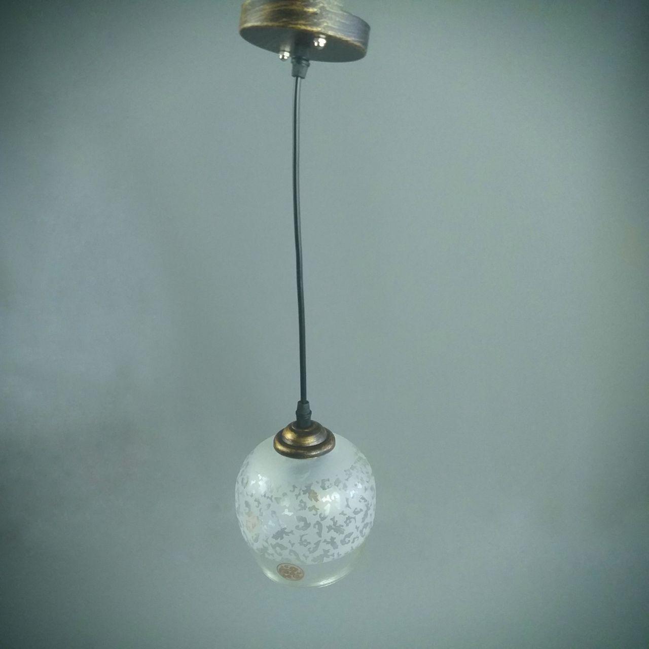 Люстра подвесная на 1 лампу подвес патина + 12397 плафон