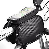 Велосумка на раму с чехлом для смартфона Anmeilu влагозащитная черная, фото 1
