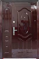 Наружные полуторные китайские входные двери ААА 722 автолак вишня на улицу