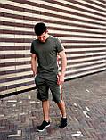 Мужской летний комплект с лампасами (шорты+футболка), хаки мужской спортивный комплект, фото 3