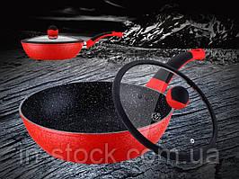 Сковорода WOK з кришкою Meisterklasse MK-1036-28 red marble