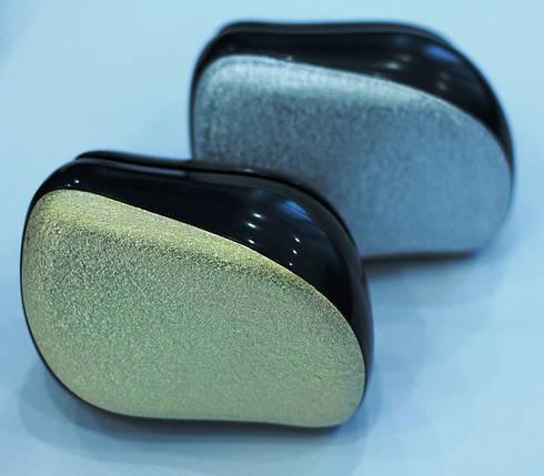 Антистатическая массажная расческа для распутывания волос TT Gold & Silver  8 см, фото 2