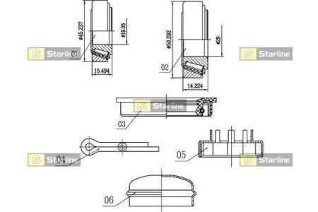 Audi 100 Подшипник ступицы колеса, к-кт.  STARLINE S LO 00542