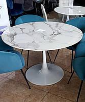 Обеденный стол Т-321 белый МФД мрамор D120 см от Vetro Mebel