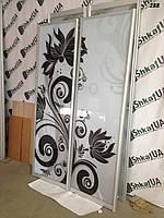 Фасади дверей - купе (розсувні системи) Фотодрук чорнобілі квіти (фотопечать на шкаф-купе 2 двери)