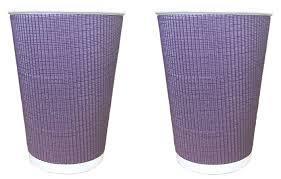 Стакан бумажный гофра 185мл 20шт фиолетовый