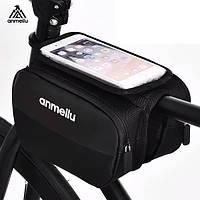 Велосипедная сумка-бардачок для смартфона на раму Anmeilu черная