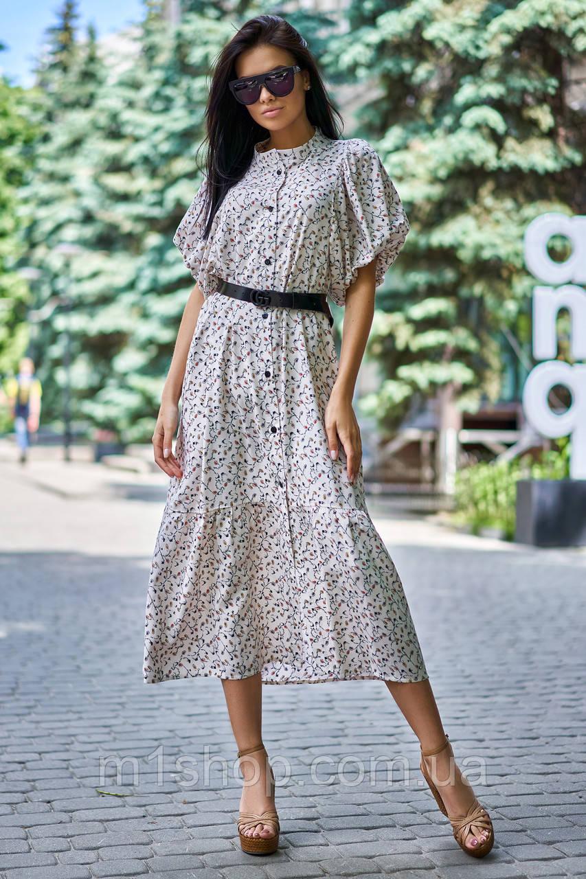Летнее удлиненное свободное платье из штапеля с цветочным принтом (Нотти jd)