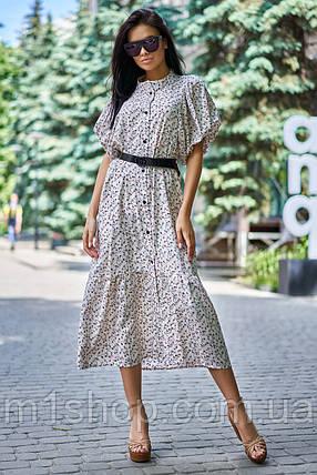 Летнее удлиненное свободное платье из штапеля с цветочным принтом (Нотти jd), фото 2