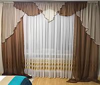 Шифоновые шторы на кухню 150х270cm (2 шт) с ламбрекеном ALBO шоколадные (LS295-14)