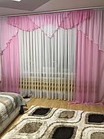 Портьеры в спальню 150х270cm (2 шт) из шифона с ламбрекеном ALBO розовые (LS295-5)