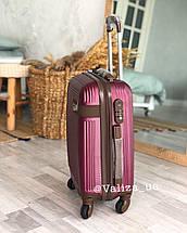 Средний пластиковый чемодан коричневый на 4-х колесах / Середня пластикова валіза, фото 3