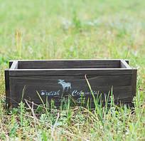 Оригінальна підставка під вазон з натурального дерева з малюнком лося і написом венге