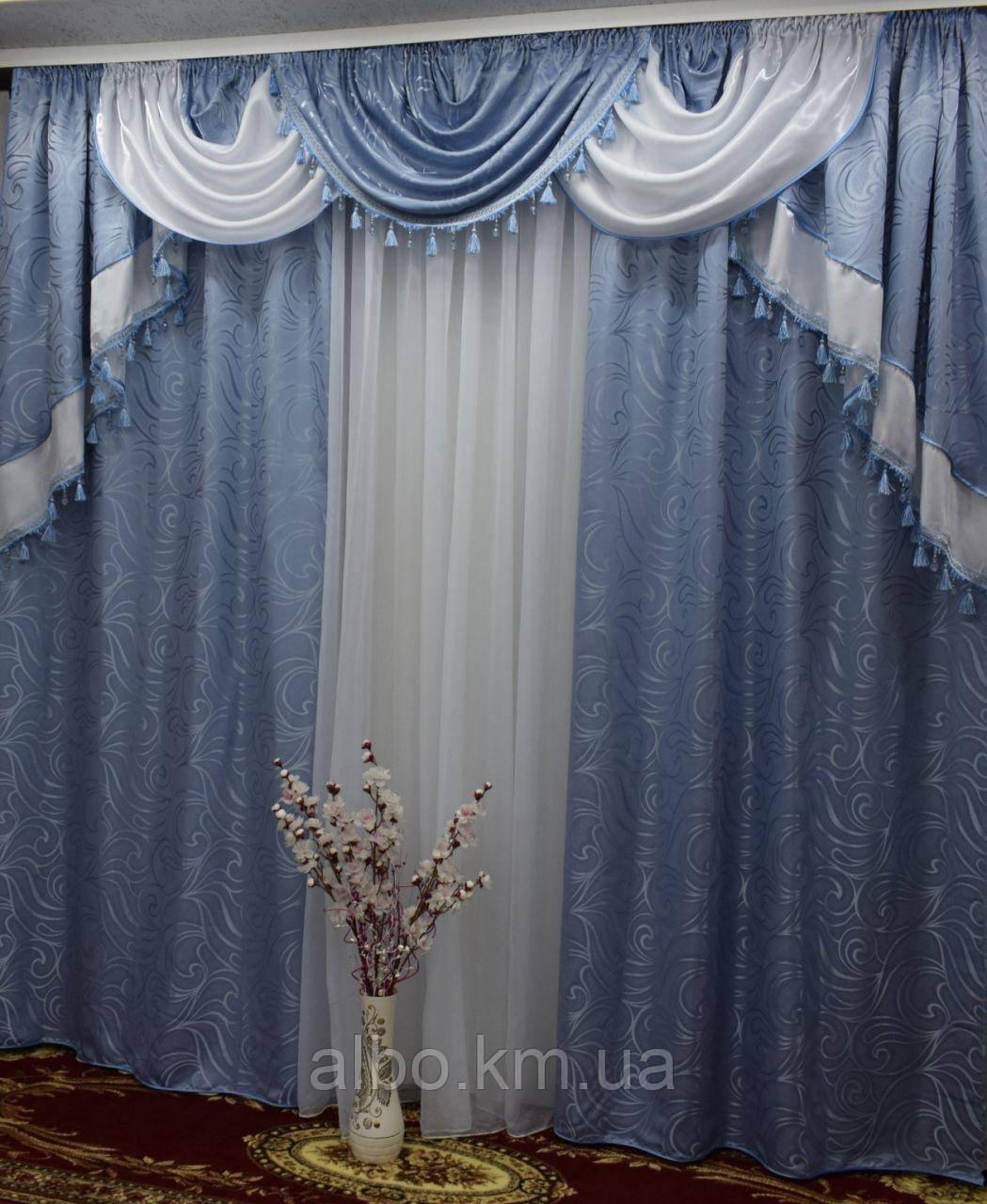 Готовые шторы в спальню 150х270cm (2 шт) из жаккарда с ламбрекеном ALBO Серый (LS330-10)
