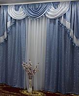 Готовые шторы в спальню 150х270cm (2 шт) из жаккарда с ламбрекеном ALBO Серый (LS330-10), фото 1
