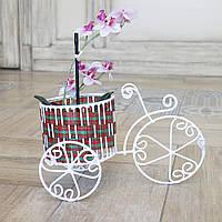 Кашпо триколісний невеликий велосипед з кошиком з кераміки ручної роботи