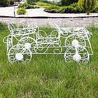 Кашпо автомобіль «ретро» – оригінальна підставка під вазони з металевого дроту