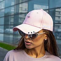 Жіноча світло рожева бейсболка 0028 з пірсингом і шпилькою