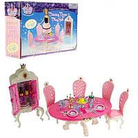 """Детская игрушечная мебель с посудой и сервантом """"Столовая"""" Gloria, розовая"""