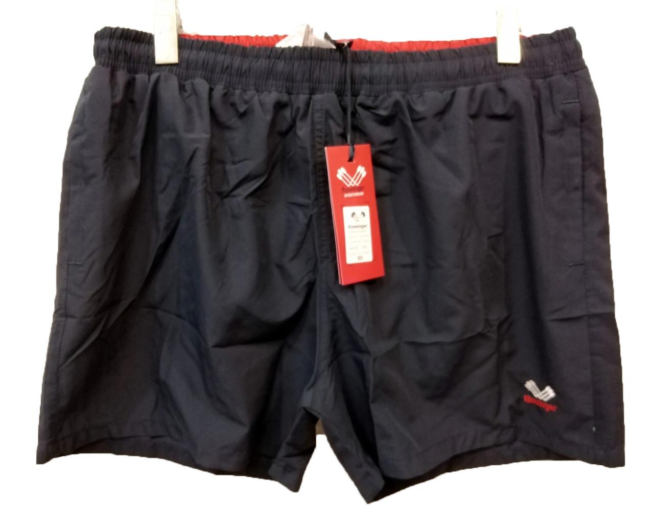 Мужские шорты большой размер Rowinger из плащевки для купания Темно-синие с красной резинкой