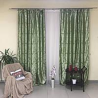 Готовые жаккардовые шторы с люрексом 150x270 cm (2 шт) ALBO Зеленые (SH-D26-8), фото 1