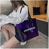 Женская большая прозрачная пляжная сумка шопер JINGPINPIJU синий голубой, фото 3
