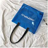 Женская большая прозрачная пляжная сумка шопер JINGPINPIJU синий голубой, фото 2