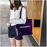 Женская большая прозрачная пляжная сумка шопер JINGPINPIJU синий голубой, фото 6