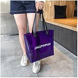 Женская большая прозрачная пляжная сумка шопер JINGPINPIJU синий голубой, фото 7