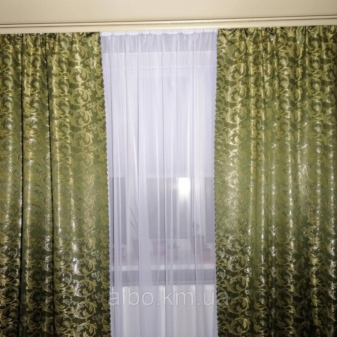 Жаккардовые шторы с люрексом 150x270 cm (2 шт) ALBO Темно-зеленые (SH-D26-9)