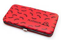 Чехол магнитный Platinum на 6 пинцетов, красный с ресничками