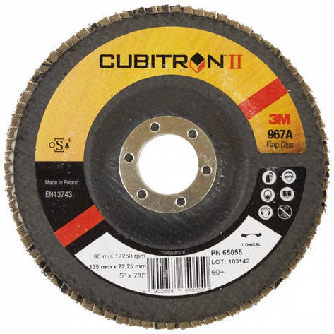 Лепестковый круг 3M 967А конусный Р60, 125мм, фото 2