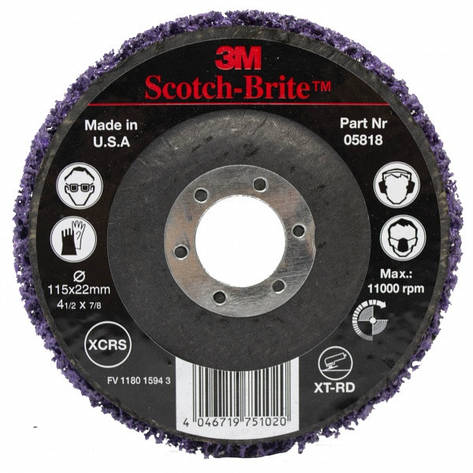 Круг зачисной фиолетовый на основе 3M Scotch-Brite d-115 мм, фото 2