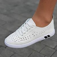 Мокасины женские белые летние легкие (код 9681) -  мокасини білі літні легкі