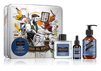 Набор подарочный для уход за бородой из 3-х предметов Proraso beard kit Azur Lime